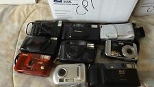 10 Vintage Film & Digital Cameras for Parts Canon Vivitar Olympus Fuji Kodak CP1