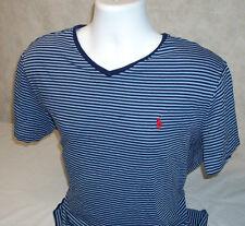 Polo Ralph Lauren Small Pony 100% Cotton Blue Striped V-Neck T-Shirt Men's L