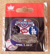 2017 Opening Day Coors Field Colorado Rockies vs LA Los Angeles Dodgers pin MLB