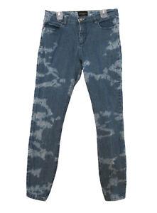 "OBEY PROPAGANDA Bleach Splotch Jeans Waist 28"" Stretch Blue Denim 29"" Inseam"