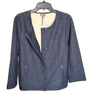 J. Jill Jacket Size XL W/Snap/Zip Closure Denim Knit New $119