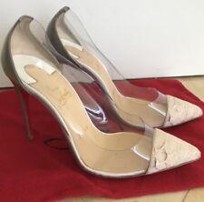 Christian Louboutin Debout Clear Pvc Python Toe Heels Size 36.5