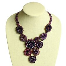 "NE504 Genuine Czech Crystals Glass Beads Button 22"" Necklace Purple Magnet Clasp"