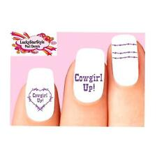Waterslide Nail Decals Set of 20- Purple Barbed Wire Cowgirl Up Heart Assorted