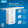 Sharper Image Socket Shelf 8 Port Surge Protector 6 Wall Outlet Extender 2 USB