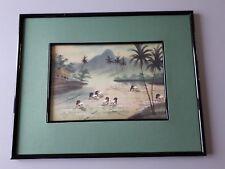 peinture sur soie encadrée d'un paysage du Viet-Nam