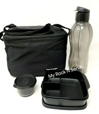 Tupperware 4 PCS Lunch Set w/Insulated Lunch Bag Black NEW !!!