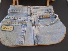 Vintage Rétro Femmes Sac À Main Authentique Wrangler Denim Jeans laiton Stud Cuir étiquette