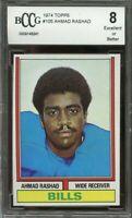 1974 topps #105 AHMAD RASHAD buffalo bills rookie card BGS BCCG 8