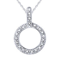 """1/10 Ct Circle Natural Diamond Pendant 10K White Gold with 18"""" Chain Necklace"""