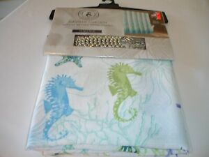 New! Set Beach Seahorses Bathroom Shower Curtain Decorative Curtain w/ 12 Hooks