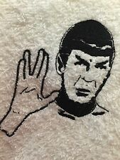 Embroidered  White 100% Cotton Hand Towel  HS0170 SPOCK LEONARD NEMOY STAR TREK