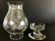 "Vintage Candle Holder With Clear Optic Chimney Shade 8.5"" Tall"