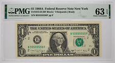 1988A FEDERAL RESERVE NOTE $1 NEW YORK PMG 63 CHOICE UNC EPQ SERIAL NO 5's (550F