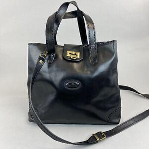 "Vintage Gianni Conti Black Leather Hand Shoulder Crossbody Boho Bag 10.5 x 12.5"""