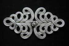 MR153-2 SILVER Metallic Cord Loopy Fastener Frog Closure Knot Button/Buckle