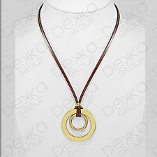 Genuine Brown Leather Gold Round Ring Pendant Long Necklace 2 Circles