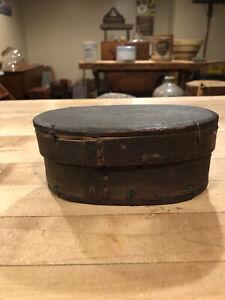 Antique Primitive Small Swedish Bentwood Tine Box- Original Paint