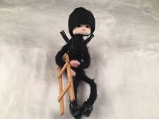 Vintage Anne Beate Design Pixie Doll Lead Feet Yarn Wrap Denmark Burglar Robber