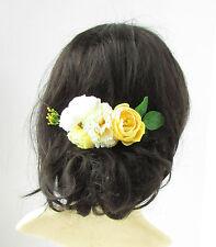 Citron jaune pâle ivoire rose Carnation fleur peigne à cheveux feuilles
