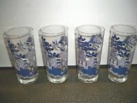 4 JOHNSON BROTHERS GLASSWARE ''WILLOW'' BEVERAGE GLASSES 16 OUNCES