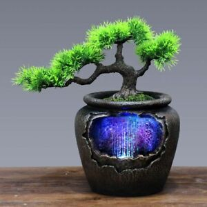 Bonsai Tree Pot with Waterfall Fountain Indoor Color Changing for Home Decor