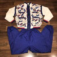 Vtg 80s 90s Active Stuff SMALL Windbreaker TRACK SUIT Jacket Coat Pants Set S