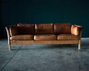 Danish Mid Century Three Seat Sofa in Cognac Leather by Mogens Hansen