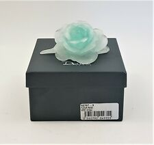 Daum France Fleur Rose Vert D'Eau Pate De Verre Teal Crystal Glass 02767-3