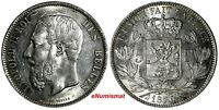 BELGIUM Leopold II Silver 1870 5 Francs 37 mm aUNC  KM# 24