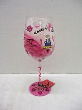 LuLu by 2 Saints Birthday Girl Hand Painted Wine Glass 14 oz Pink