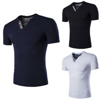 Stylish Men's Casual Slim Fit V-neck T-shirt Short Sleeve Cotton Muscle Tee Tops