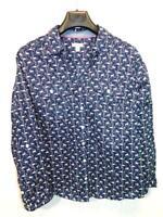Croft & Barrow XXL 2X Dark Blue White Swan Print Shirt Birds Long Sleeve Blouse