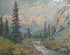 Antique European oil painting mountain river landscape signed