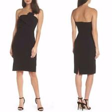 NEW Chelsea28 Petite BLACK Strapless TWISTED Bow FRONT Cocktail LBD DRESS 4P 10P