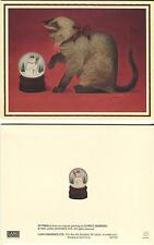 VINTAGE BROWN GRAY SIAMESE CHRISTMAS CAT BOW PLAYS SNOWMAN SNOW GLOBE 1 CARD
