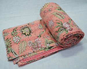 Indian Cotton Twin Kantha Quilt Screen Print Bedspread Coverlet Blanket Ethnic