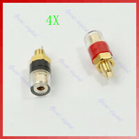 4pcs Red Black Gold Plated Audio Speaker Binding Posts Amplifier