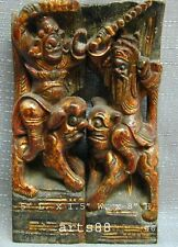 Rare Antique Chinese Temple Ceiling Molding of 2 Figure