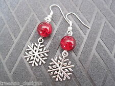 CHRISTMAS SNOWFLAKE EARRINGS Red Glass Crackle Beads Snow Flake New GIFT BAG