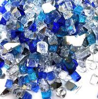 """VIVID Blue, Azuria, Silver Premium Blend 1/2"""" Fireplace Fire Pit Fireglass Glass"""