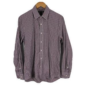 Michael Kors Mens Button Up Shirt Size Medium Slim Red Plaid Long Sleeve 21.26