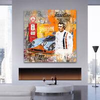 LEINWANDBILD STEVE MCQUEEN POP ART KUNSTDRUCK LE MANS WAND BILDER AUTOS DEKO