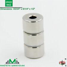 "3-count neodymium N42 NdFeb ring magnets 3/4""OD x 1/4"" ID x 1/2"" T (true N42)"