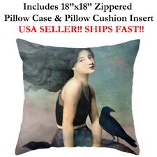 "18"" 18in 18x18 GIRL Black CROW BIRD NIGHT HAWKS Zippered Throw Pillow Cushion"