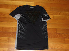 UNDER ARMOUR PADDED CHEST SHORT SLEEVE BLACK/GRAY JERSEY BOYS SMALL 8-10 EXC.
