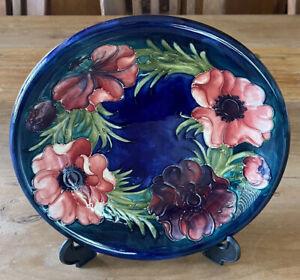 "Vintage Walter Moorcroft Cobalt Blue Anemone 9"" Plate / Shallow Bowl England"