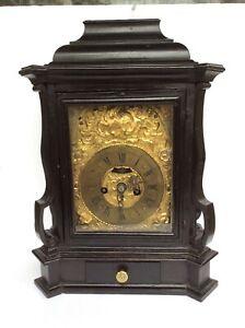 Antique 18th Century Strike Mantel Clock/Gold Gilt Face/Verge Escapement/ Works.