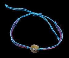 Bracelet bresilien Oeil de Sainte Lucie Nacre Cuir Shiva -bleu violet 1012