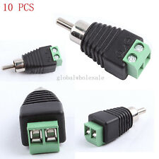 10pcs Phono RCA male plug TO AV Screw Terminal Plug Connector CCTV Video AV Balu
